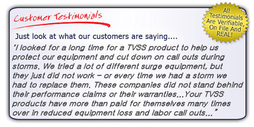 Industrial Surge Protector Testimonial