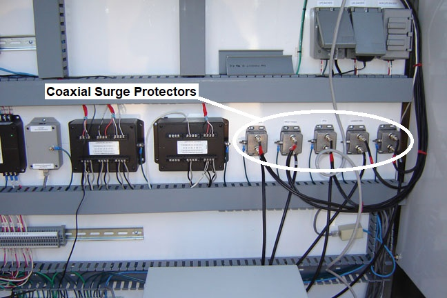 Multiple, High Quality, High Performance, Coaxial Surge Protectors Installed Inside a Control Cabinet