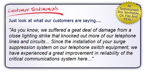 High Quality, High Performance Data Line and Telephone Line Surge Protector Testimonials. Get the Right Gear!