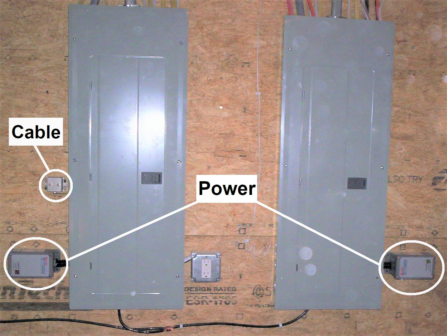 Installation of High Quality, High Performance, Whole House Surge Protectors. Both Power Panels and Coaxial Line Are Protected. Get the Right Gear!